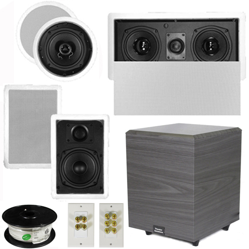 "Theater Solutions 5.1 Home Audio Speakers 4 Speakers, 1 Center, 8"" Powered Sub and More TS50CWL51SET2 at Sears.com"