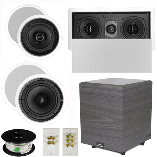 "Theater Solutions 5.1 Home Theater 4 Speakers Set with Center, 8"" Powered Sub and More TS5C6CL51SET2 at Sears.com"