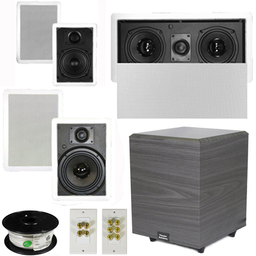 "Theater Solutions 5.1 Home Theater 4 Speakers Set with Center, 8"" Powered Sub and More TS5W6WL51SET2 at Sears.com"