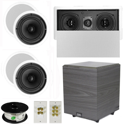 "Theater Solutions 5.1 Home Theater 6.5"" Speakers Set with Center, 8"" Powered Sub and More TS65CL51SET2 at Sears.com"