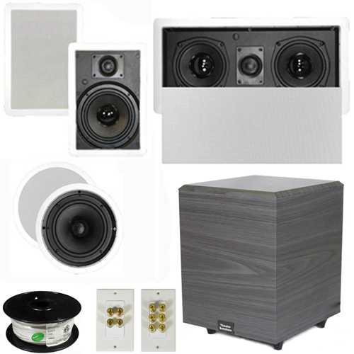 "Theater Solutions 5.1 Home Theater 6.5"" Speakers Set with Center, 8"" Powered Sub and More TS65CWL51SET2 at Sears.com"