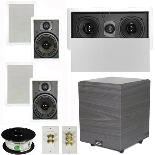 "Theater Solutions 5.1 Home Theater 6.5"" Speakers Set with Center, 8"" Powered Sub and More TS65WL51SET2 at Sears.com"