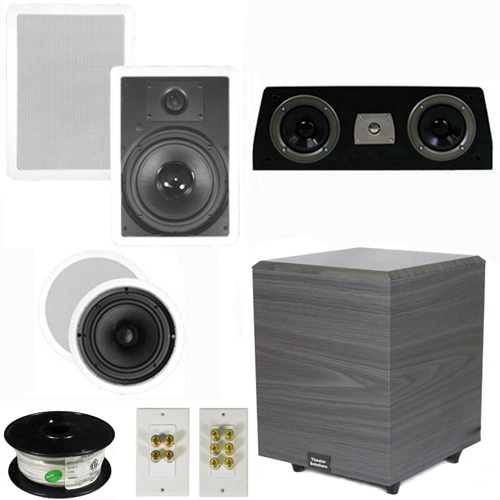 "Theater Solutions 5.1 Home Theater 8"" and 6.5"" Speakers Set with Center, 8"" Powered Sub and More TS6C8WC51SET2 at Sears.com"
