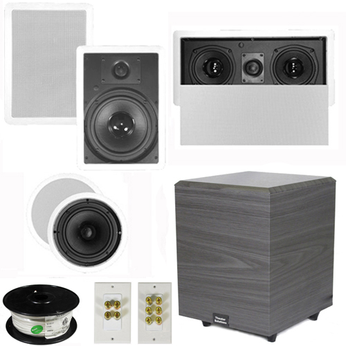 "Theater Solutions 5.1 Home Theater 8"" and 6.5"" Speakers, Center, 8"" Powered Sub and More TS6C8WL51SET2 at Sears.com"