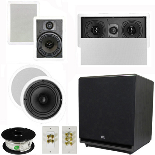 "Theater Solutions 5.1 Home Theater 8"" and 6.5"" Speaker Set with Center, 15"" Powered Sub and More TS6W8CL51SET9 at Sears.com"