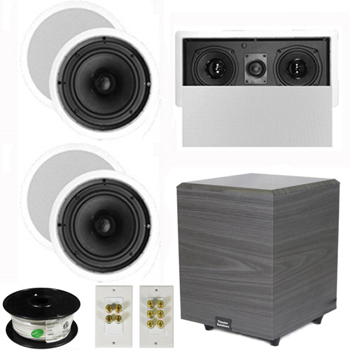 "Theater Solutions 5.1 Home Theater 8"" Ceiling Speakers, Center, 8"" Powered Sub and More TS80CL51SET2 at Sears.com"
