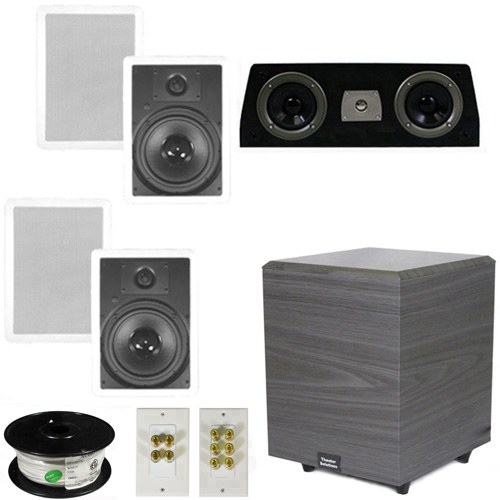 "Theater Solutions 5.1 Home Theater 8"" In Wall Speakers, Center, 8"" Powered Sub and More TS80WC51SET2 at Sears.com"
