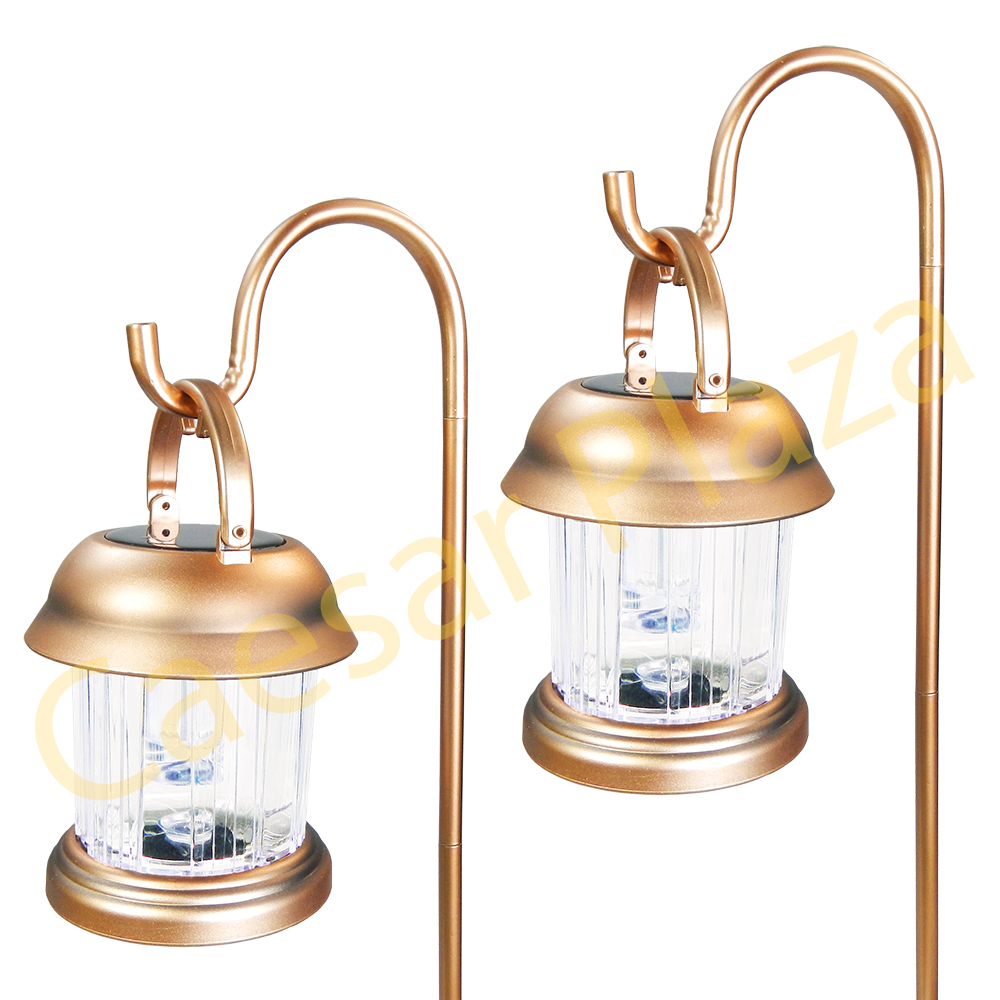 6 Outdoor Brass Copper Color 2 LED Solar Hanging