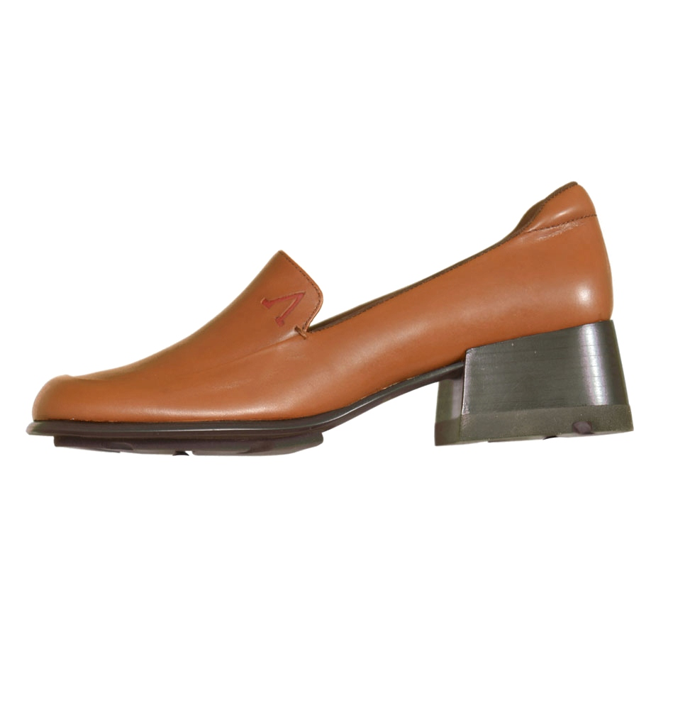 Anne Klein Lynn 500300 Medium Heel Leather Loafers Womens Shoes Brown Size 6 at Sears.com
