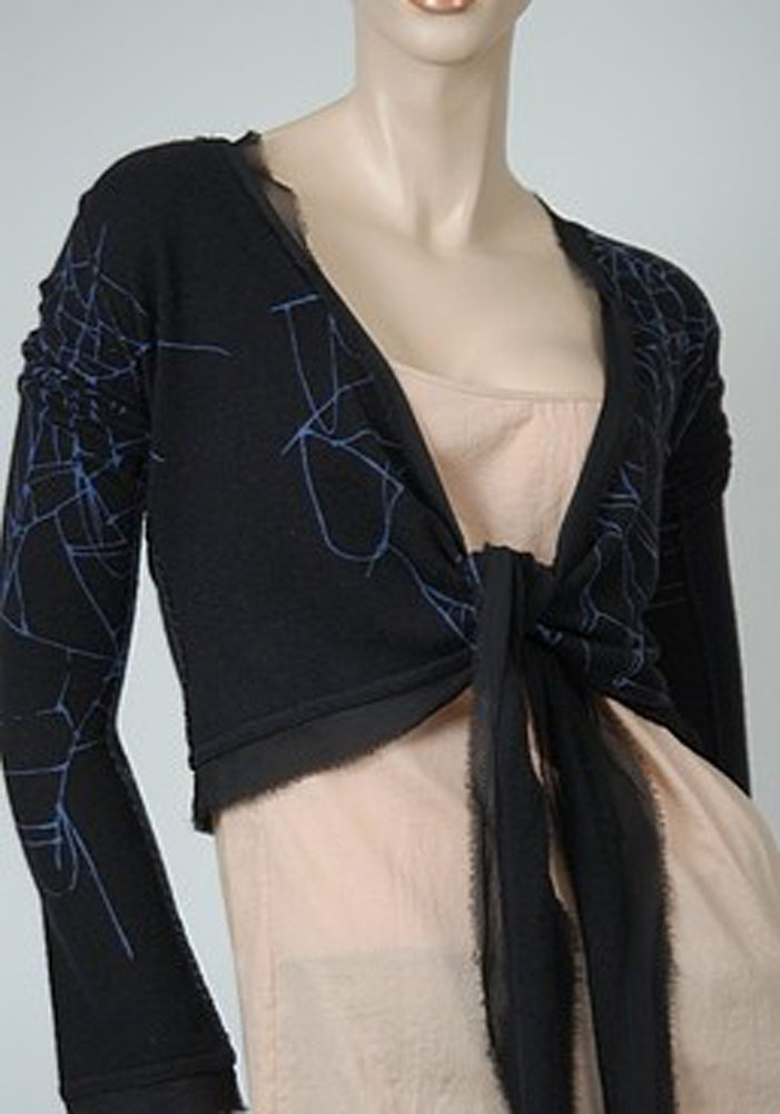 Raw 7 Chiffon Trim Web Wrap Womens Sweater Black Size Xs at Sears.com