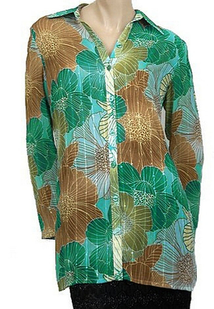 Touche Sheer Floral L/S Womens Shirts Green Multi Size 6 at Sears.com
