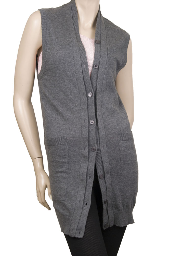 Something Else Long Vest Womens Sweaters Gray Size M at Sears.com