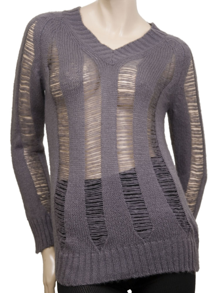 LOVE STITCH V Neck Slashed L/S Womens Sweaters Gray Size M at Sears.com