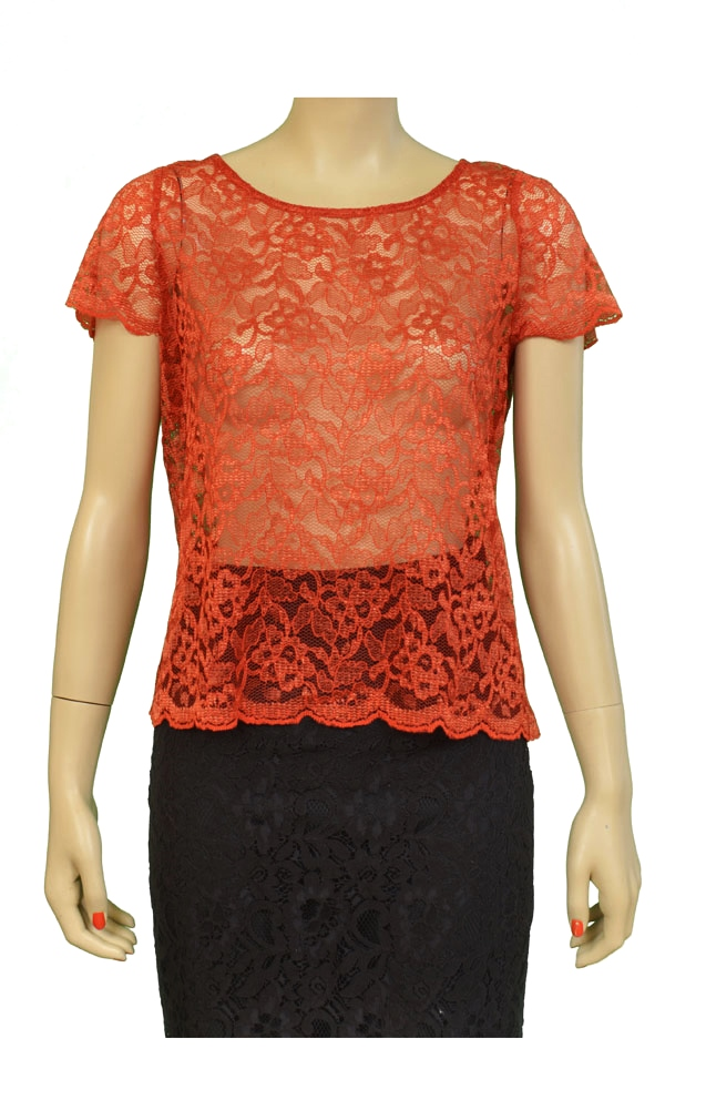 Paper Crown P1556 Indio Lace Scalloped S/S Womens Shirts Red Size M at Sears.com
