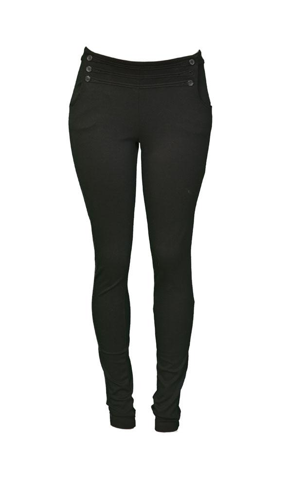 ELIZABETH AND JAMES Sailor Button Front Leggings Womens Pants Black Size L at Sears.com