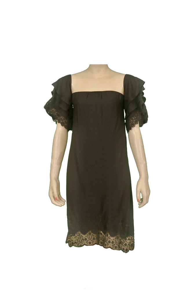 Hartloom Marion HL1801A Crochet Hem Womens Dresses Black Size L
