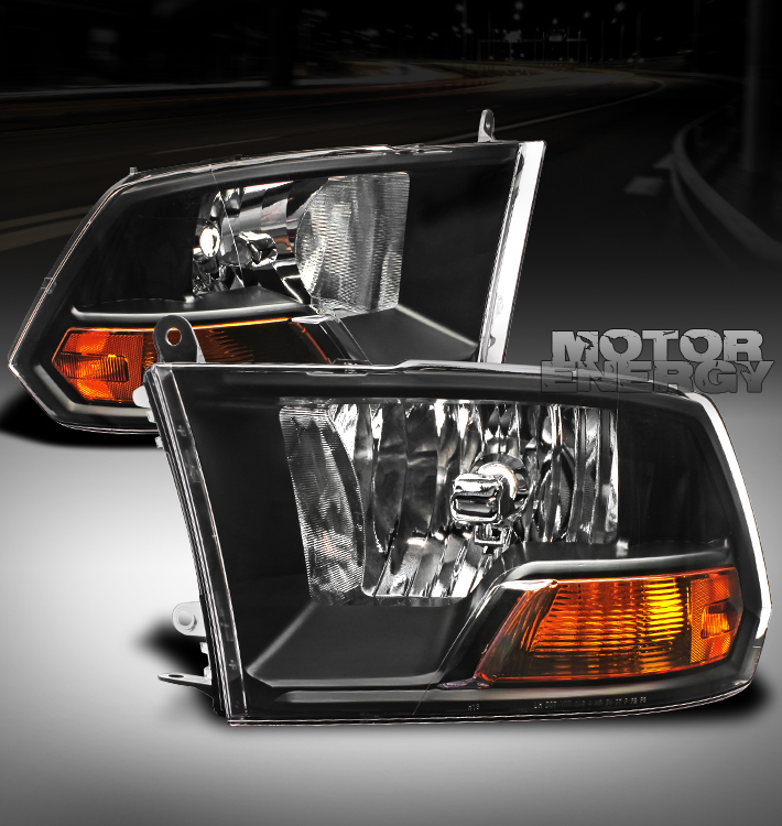 2009 2012 dodge ram pickup crystal headlight lamp black. Black Bedroom Furniture Sets. Home Design Ideas