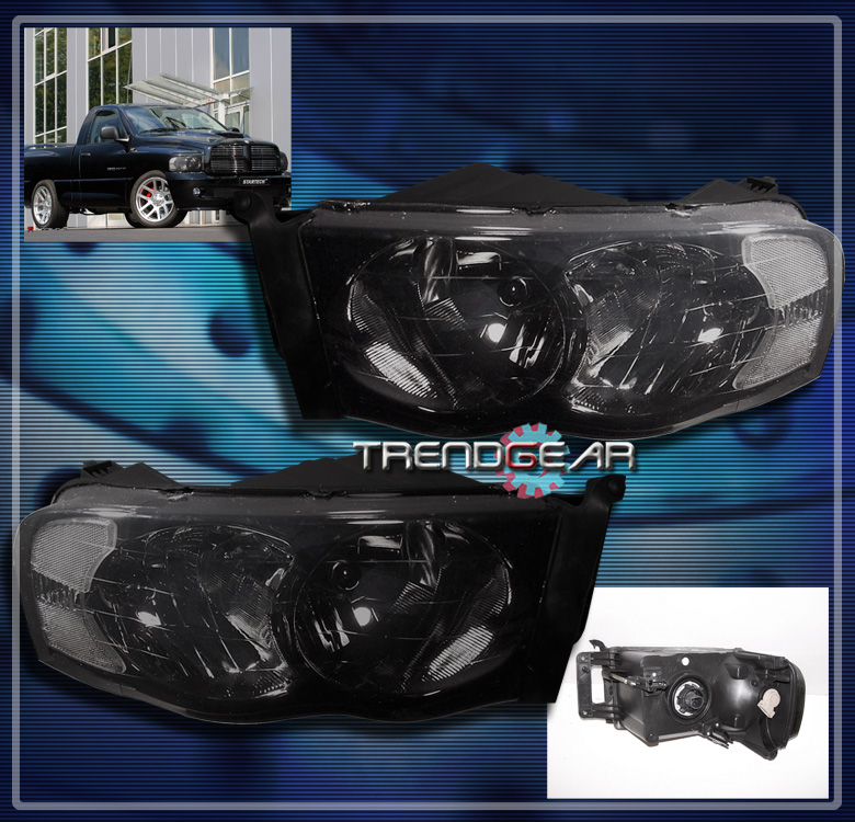 2002 2005 Dodge RAM Pickup Crystal Headlight Lamp Smoke 2003 2004 1500
