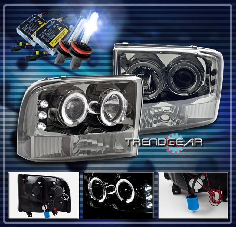 99 04 F250 F350 EXCURSION HALO LED PROJECTOR HEADLIGHTS