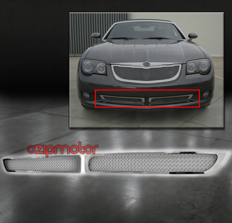 Fits 2004 2008 Chrysler Crossfire Billet Grille Grill: 04-08 CHRYSLER CROSSFIRE FRONT BUMPER STAINLESS STEEL MESH