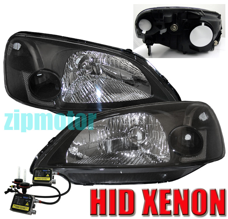 01 02 03 honda civic 2 4dr crystal headlights hid kit lamp. Black Bedroom Furniture Sets. Home Design Ideas