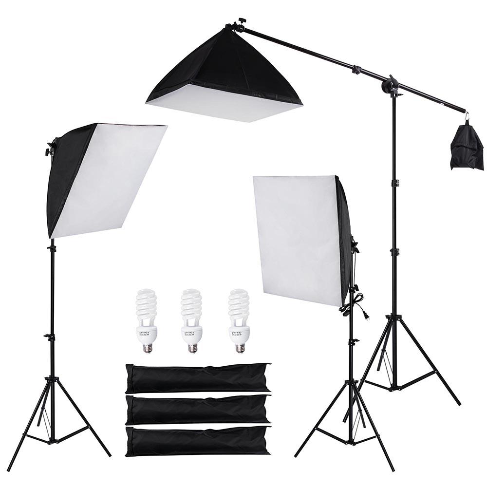Photo Studio Photography 3 Softbox Boom Light Stand