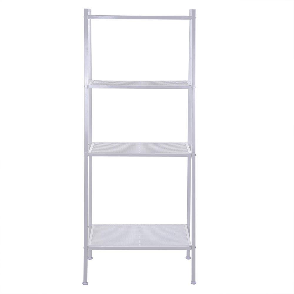 Metal Bookcase 4 Tier Storage Bookshelf Wall Ladder Shelf Display Shelving Rack