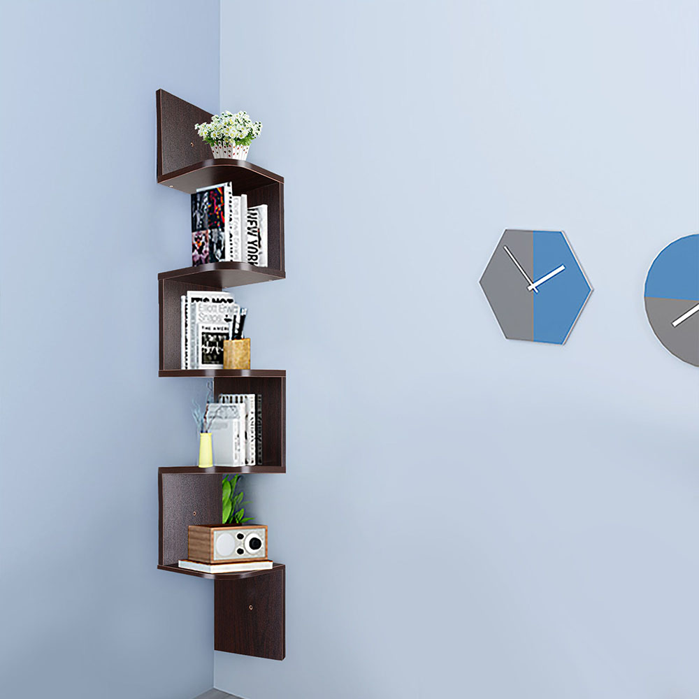 5 tiers wall mount corner zig zag wood shelf floating wooden rack home furniture ebay. Black Bedroom Furniture Sets. Home Design Ideas