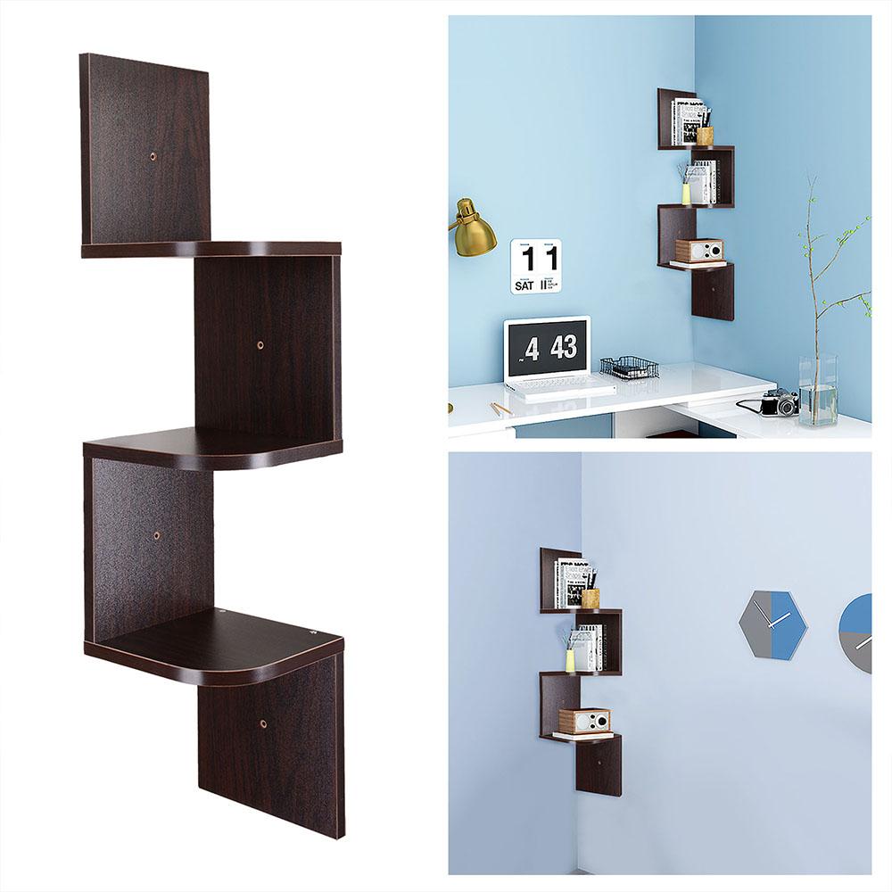 tiers wall mount corner zig zag wooden shelf floating wood rack  - tierswallmountcornerzigzagwooden