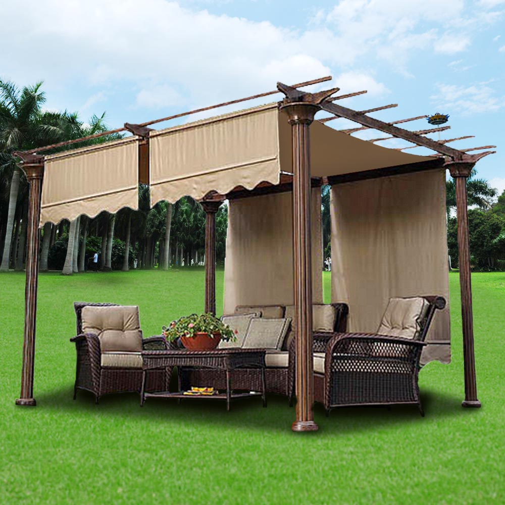 Pergolas Backyard And: 15.5' 17' Patio Pergola Canopy Replacement Cover Outdoor