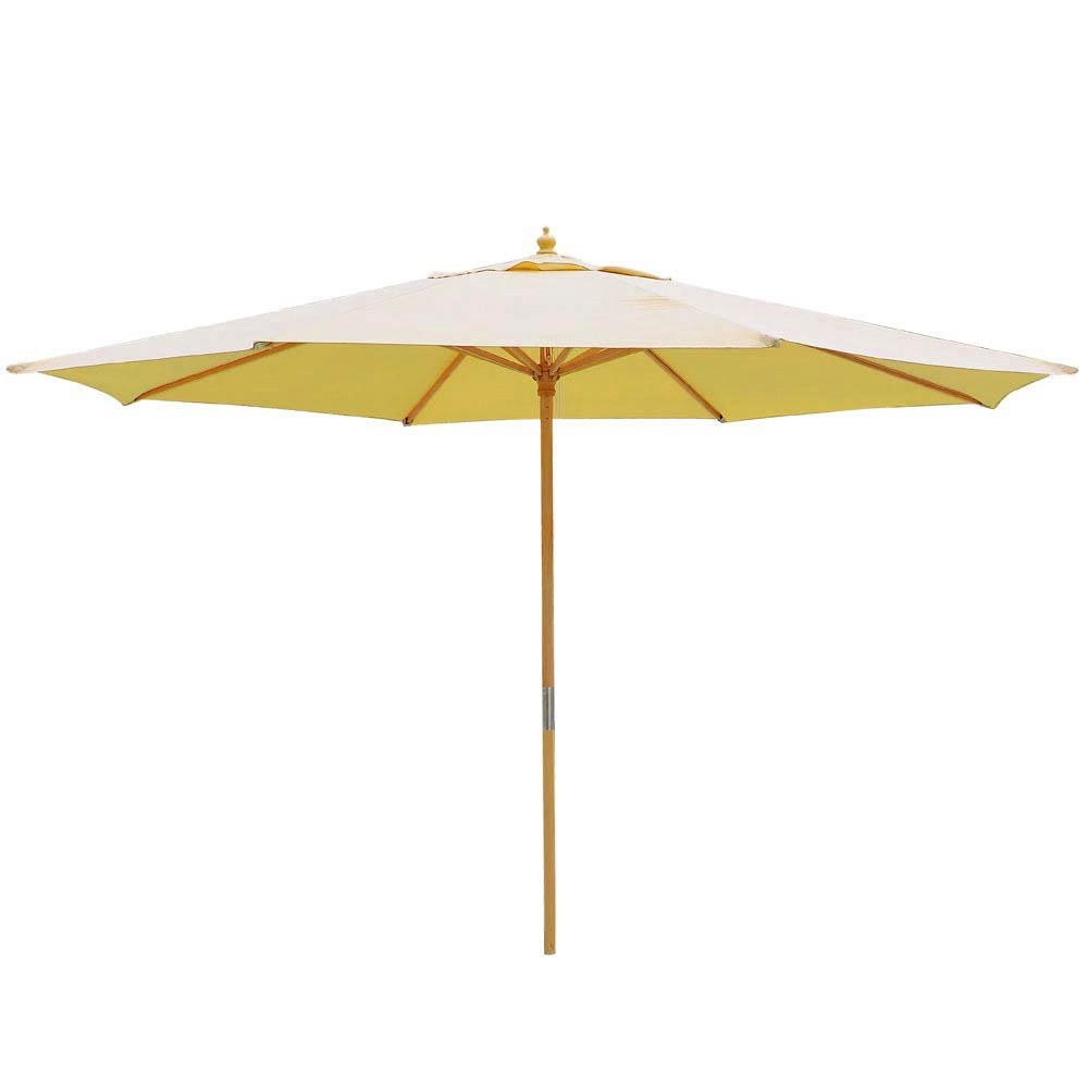 13ft Patio German Wooden Umbrella Wood Pole Outdoor Beach
