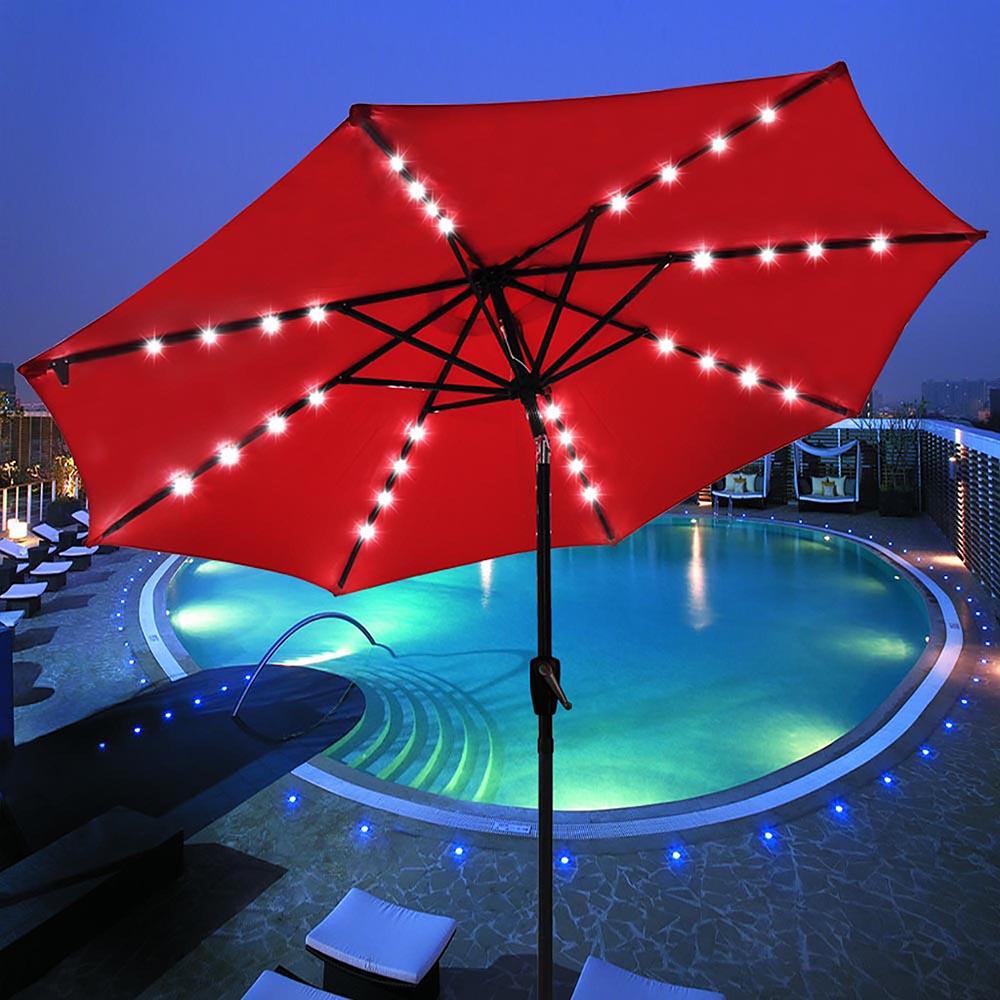 9' Patio Solar Umbrella LED Tilt Aluminium Deck Outdoor