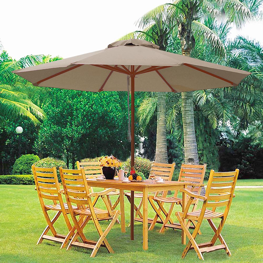 9' Ft 8 Ribs Patio Wood Umbrella Wooden Pole Outdoor ...