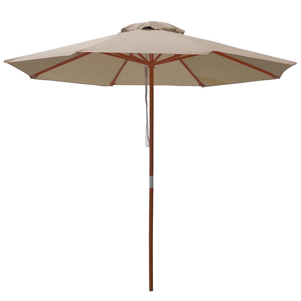 9 39 ft 8 ribs patio wood umbrella wooden pole outdoor for Outdoor patio umbrellas
