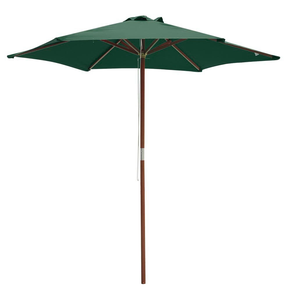 8ft 6 ribs patio wood umbrella wooden pole outdoor garden. Black Bedroom Furniture Sets. Home Design Ideas