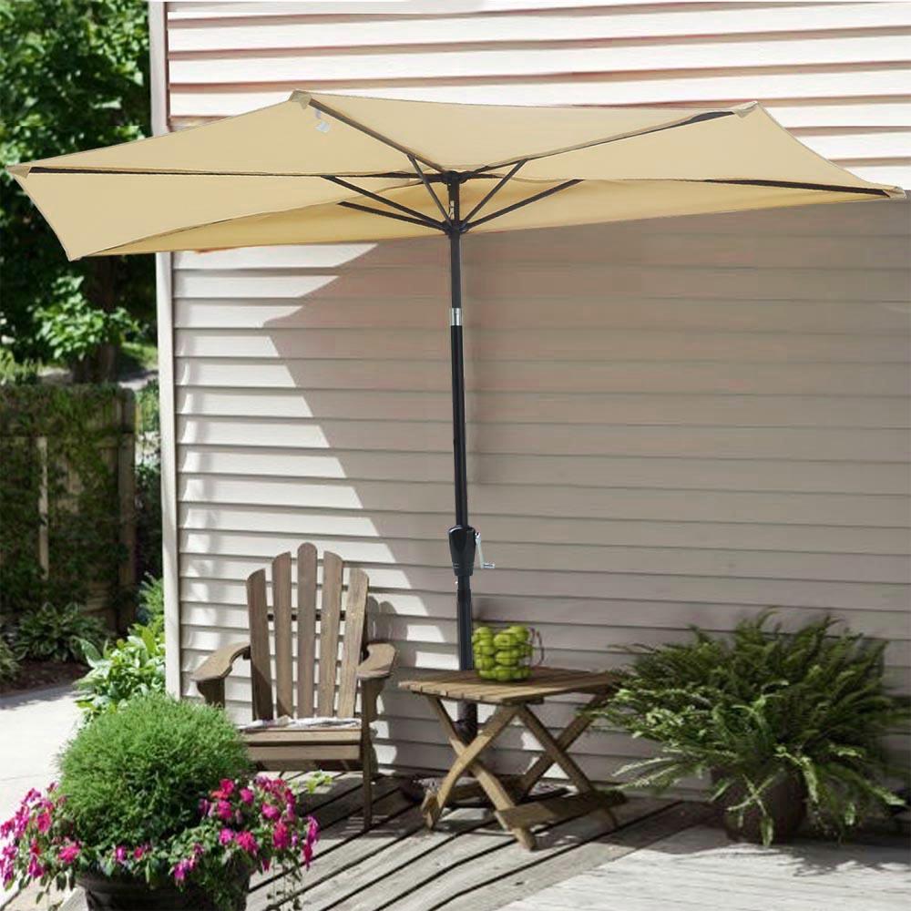 9ft Half Umbrella Outdoor Patio Bistro Wall Balcony Door Window Sun Shade Opt Ebay