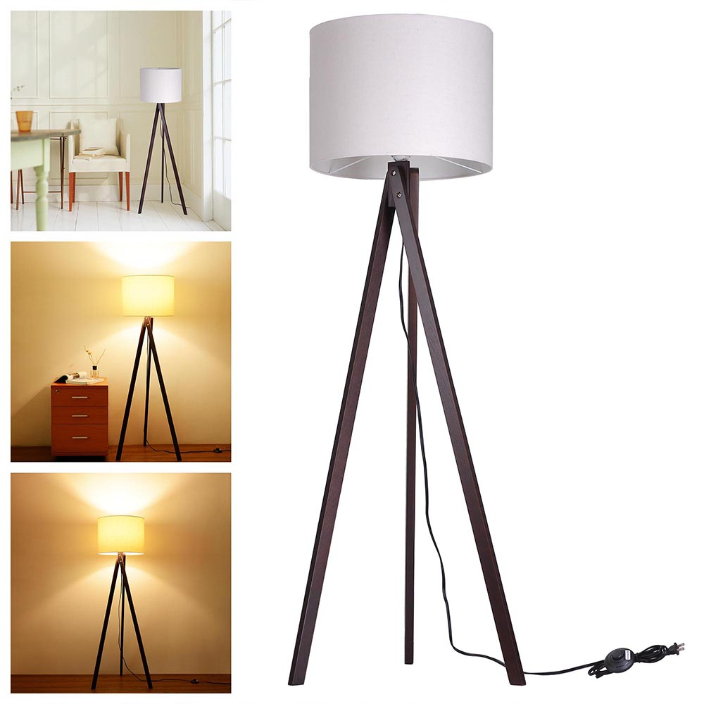 "57"" Deluxe Modern Wood Tripod Table Reading Floor Lamp"