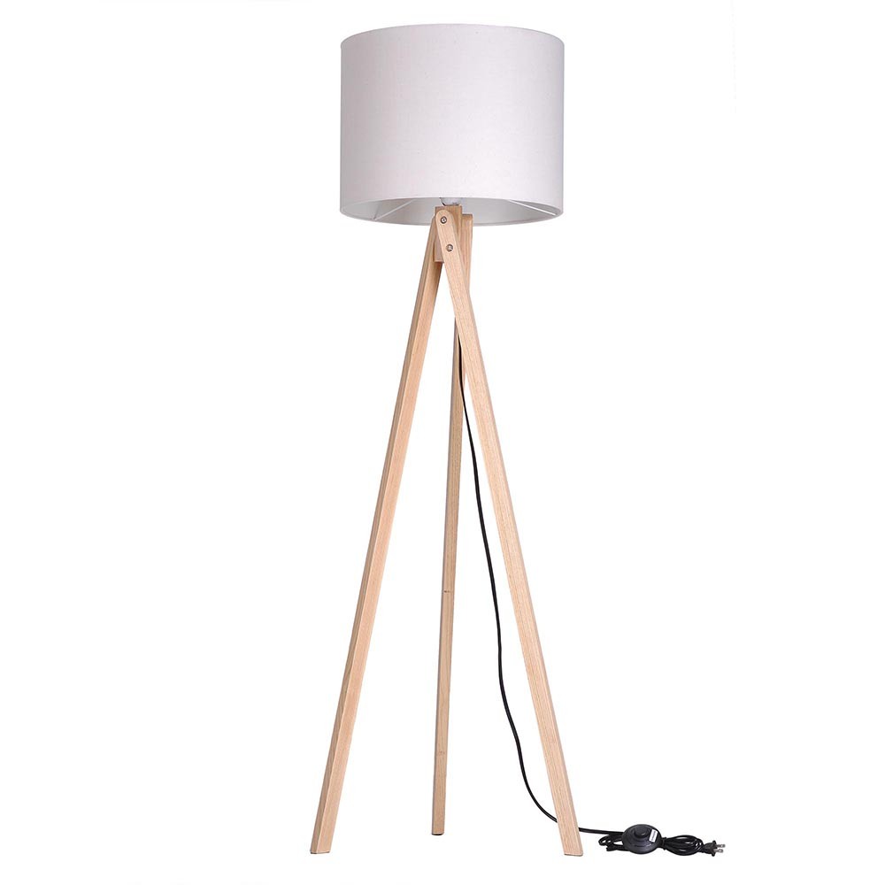57 Deluxe Modern Wood Tripod Table Reading Floor Lamp