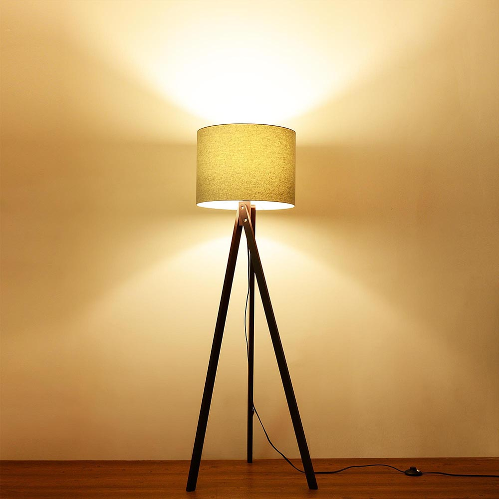 57 Deluxe Modern Wood Tripod Table Reading Floor Lamp