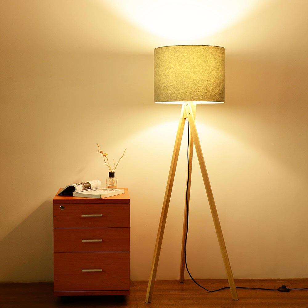 57 deluxe modern wood tripod table reading floor lamp desk lighting home office ebay. Black Bedroom Furniture Sets. Home Design Ideas