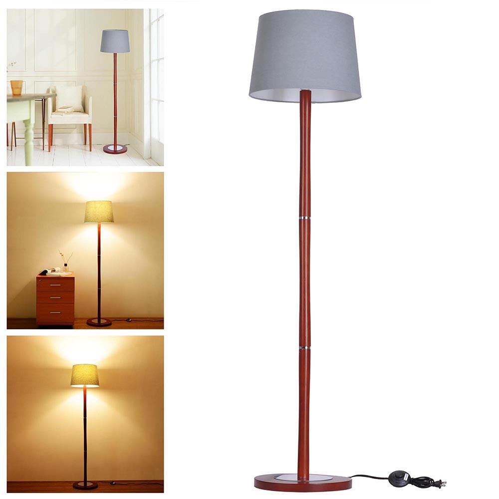 "Light Pole Wood: 57"" Modern Floor Lamp Walnut Color Wooden Pole W Lampshade"