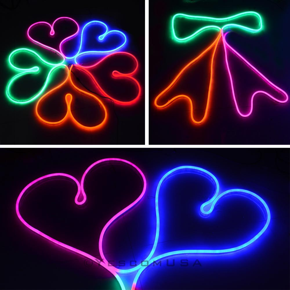 50ft led flex neon rope light in outdoor valentine xmas wedding party lighting ebay. Black Bedroom Furniture Sets. Home Design Ideas