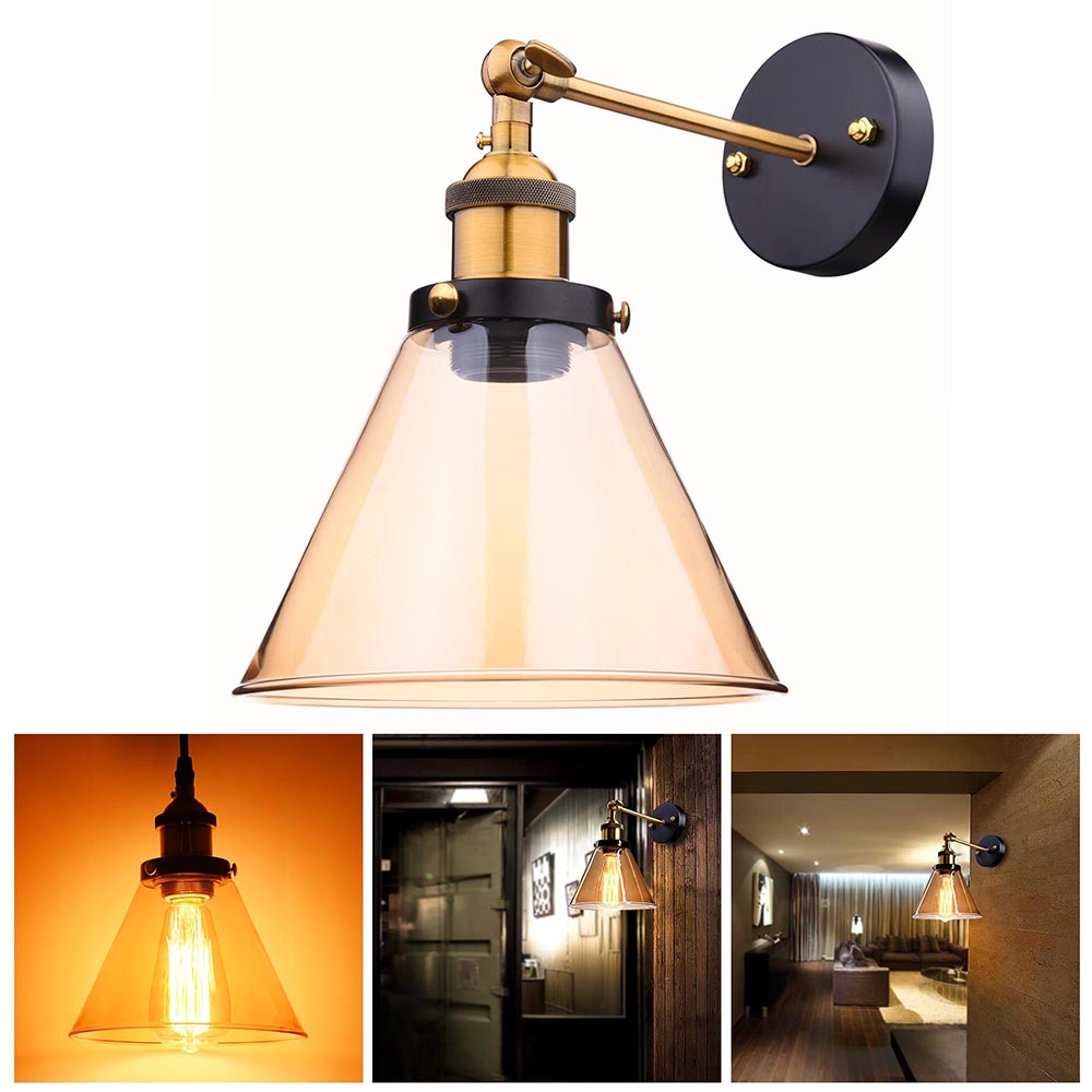 Wall Lamps Retro : Vintage Retro Industrial Barn Wall Lamp Sconce Light Glass Lampshade Metal Arm