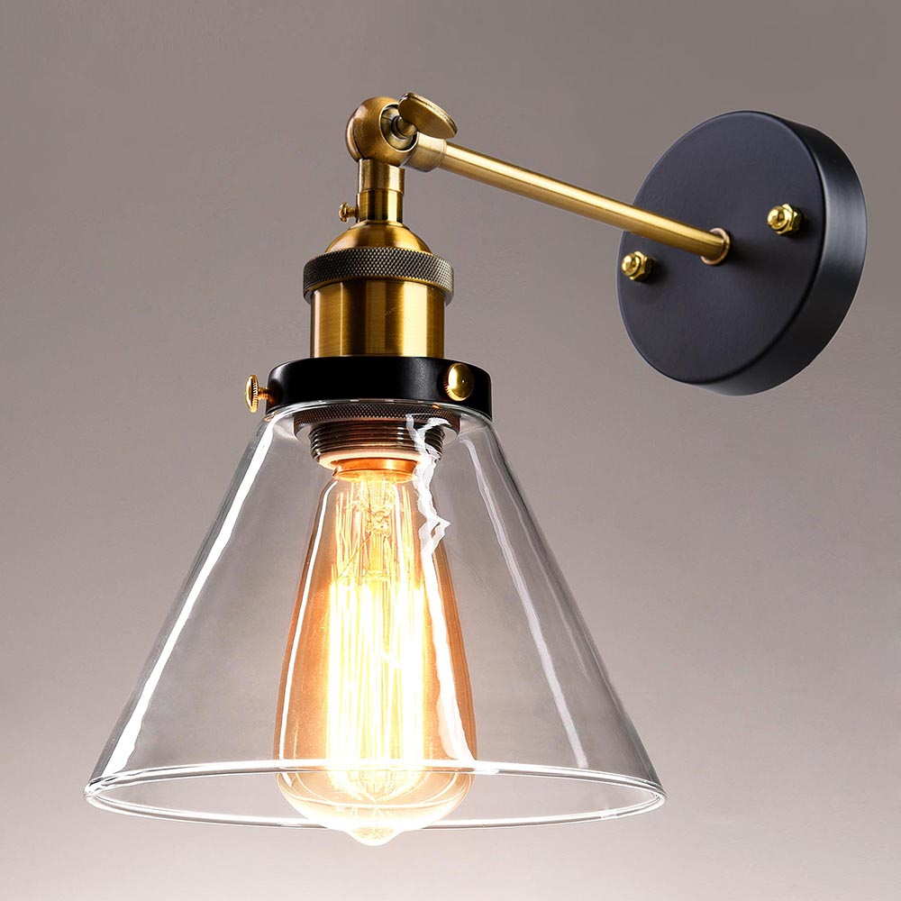 Vintage Retro Industrial Barn Wall Lamp Sconce Light Glass