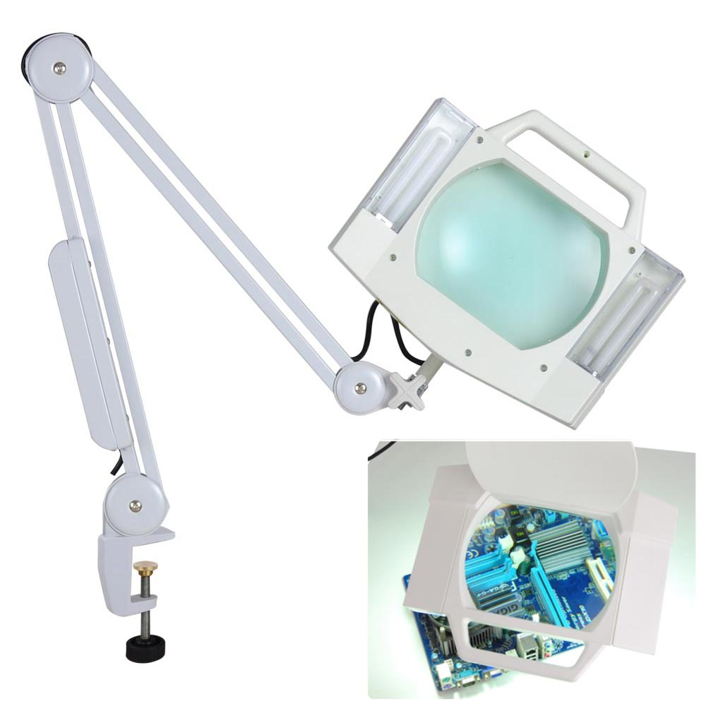5X Desk Table Clamp Mount Magnifier Lamp Light Magnifying Glass ...