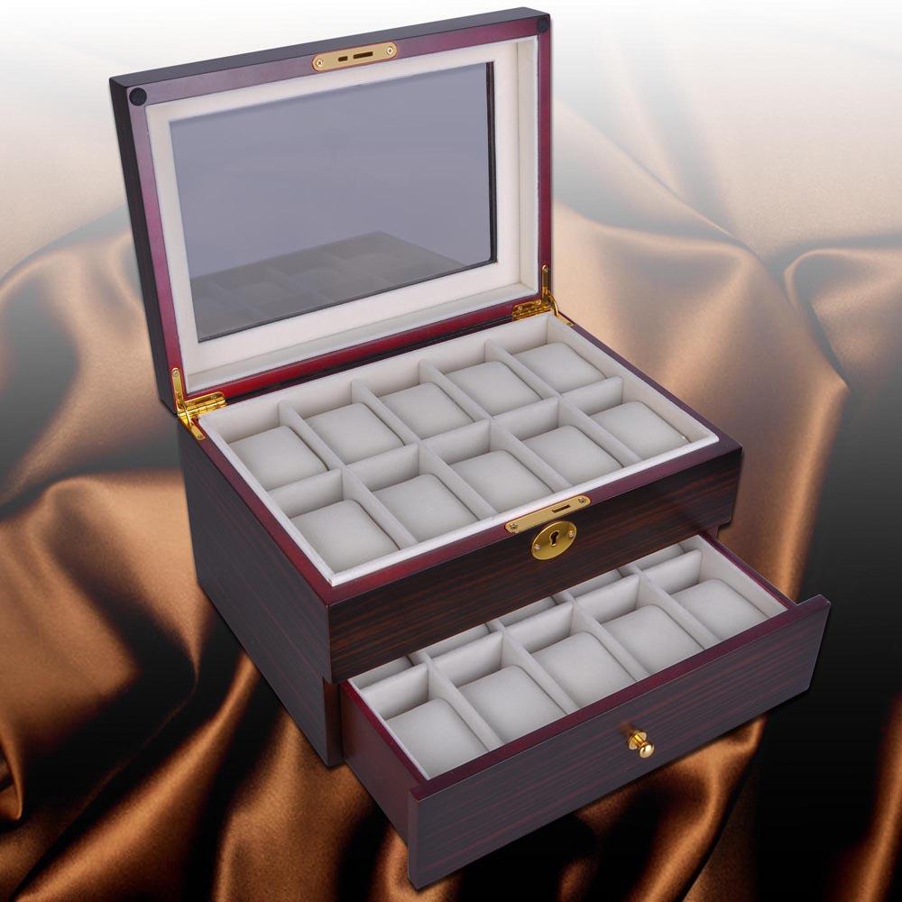 20 watch display case cherry ebony wood box collector storage 20 watch display case cherry ebony wood box