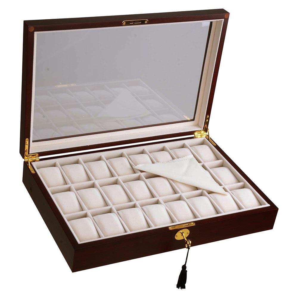 Wood watch case top glass jewelry display organizer box