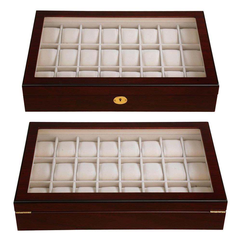 24 Wood Watch Case Top Glass Jewelry Display Organizer Box