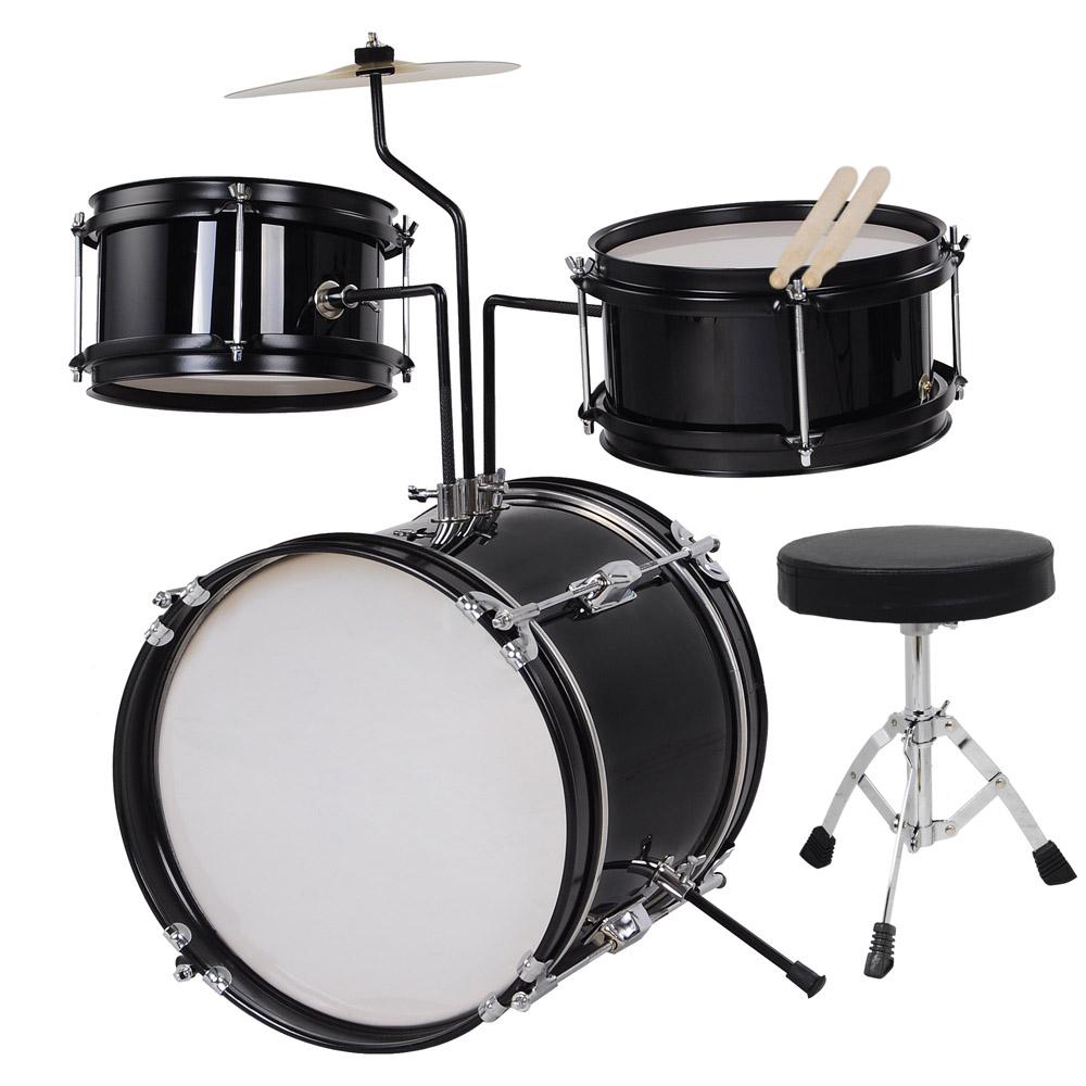 3pcs Junior Kids Children Drum Set Kit Sticks Throne