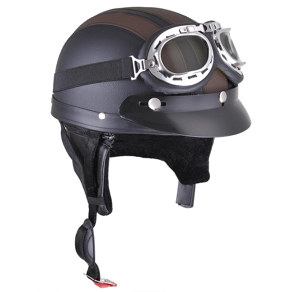 Retro motorcycle scooter harley half helmet open face for Best helmet for motor scooter